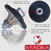 "3/4"" Granite Bullnose Profile Wheel Edges Half Radius Demi B20 For Marble Stone Profile Grinding By STADEA M14 Arbor"