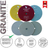 "Stadea 3-Step Diamond Polishing Pads 4"" for Granite Marble Glass Wet Dry Polishing, Series Super G"