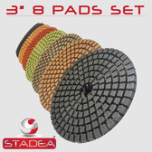 "3"" DIAMOND POLISHING PAD GRANITE MARBLE 8 PCS SET"