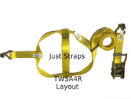 Just Straps® Car Transport Tow Dolly Strap 4 metre c/w Ratchet