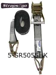 Straps2Go Tie Down Ratchet H/Duty 50mm/5.5m Hook & Keeper