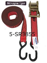 Straps2go Tie-Down Ratchet Strap 38mm/5.5metre S hooks
