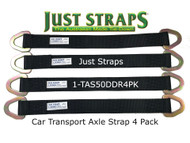 Just Straps® Car Transport Axle Strap c/w Steel D Plates 4 Pack