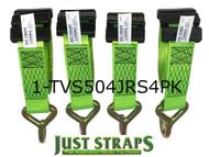 Just Straps® Car Transport Inline Strap 4 metre c/w J Hook 4 Pack