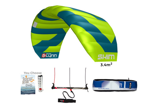 Skim 3.4m Package includes the kite, bar & lines, carry case, and free gift