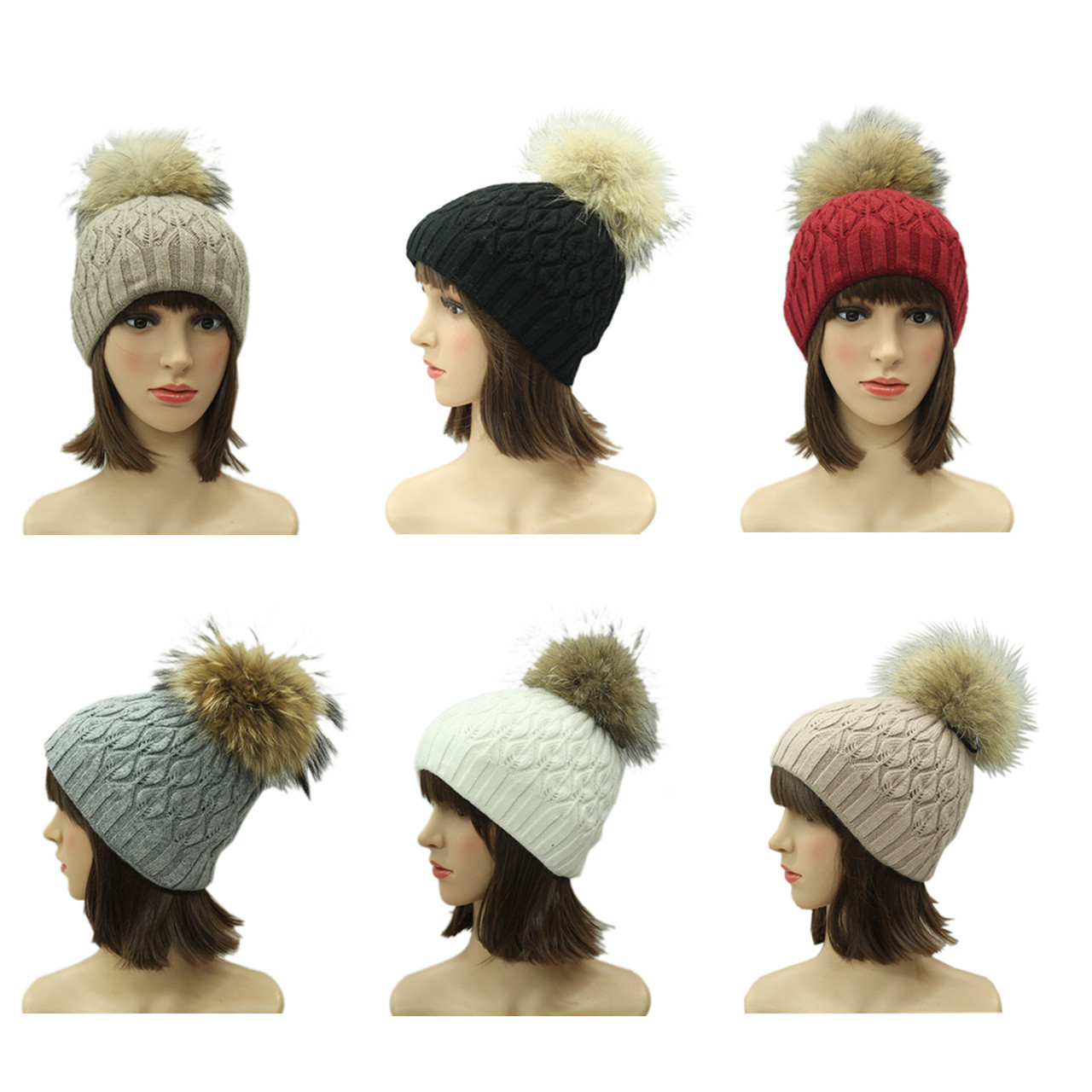 44149cdd8f9 Lady s Real Raccoon Fur Pom Pom Hat (Removable )H214 - Polyfashion ...