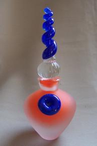 Art Glass Frosted Perfume Bottle Orange/Blue by Twin Studio