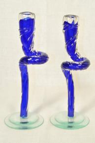 Art Glass Curved Blue Taper With Bits - set of 2 by Berni Enterprises