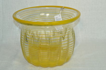 Art Glass Yellow Striped Vase/Bowl by Ion Tamaian