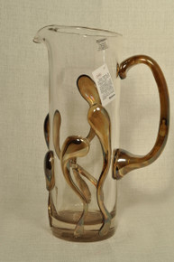 Art Glass Pitcher with Fused Glass Hand Blown by Ion Tamaian