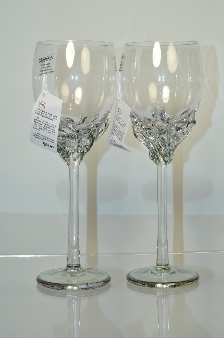A gorgeous set of wine glasses hand made by world-renown Art Glass artist Ion Tamaian