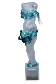 Art Glass Woman Lady Torso Sculpture Aqua/Clear Hand Blown on Square Base By Ion Tamaian