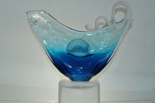 ION TAMAIAN Art Glass Blue Abstract Face Sculpture on Base Hand Blown Romania New