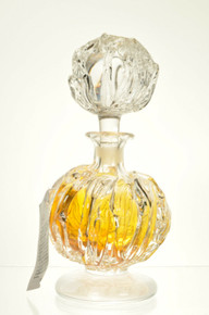 Art Glass Perfume Scent Bottle Round Amber Yellow Hand Blown Romania By Ion Tamaian