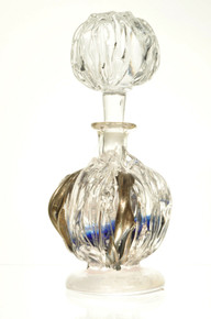 Art Glass Perfume Scent Bottle Round Navy Blue Hand Blown Romania By Ion Tamaian
