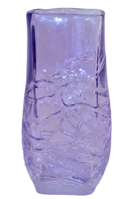 Art Glass Lavender Squeezed Vase Fused Glass Hand Blown Romania By Ion Tamaian