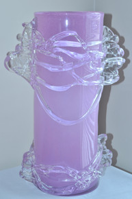 Art Glass Large Lavender Vase Fused Glass Hand Blown Romania By Ion Tamaian