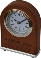 GREAT GIFT TO LASER DIRECTLY ON THE LEATHER FRONT OFTHE CLOCK. LOOKING TO GET A TIMELESS GIFT? THIS IS PERFECT. SMALL BUT ELEGANT.