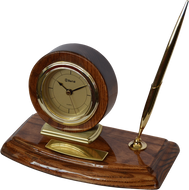 Marco Desktop Walnut Gift Clock With Silver Pen WC33