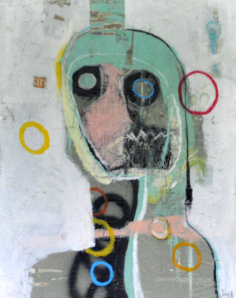 Acrylic, Oil Stick, Pencil and Collage on Canvas.  Gallery Wrapped.  30 x 23 1/2""