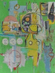 Acrylic, Oil Stick, Colored Pencil and Crayon on Canvas.  Gallery Wrapped.  48 x 36""