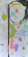 Acrylic and Oil Stick on Canvas.  Gallery Wrapped.  48 x 24""