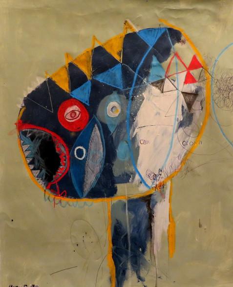 "Class Clown - Mixed Media on Canvas Panel, 17 7/8 x 21 5/8"""