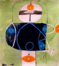 "DYFAM - Mixed Media on Canvas Panel, 13 3/4 x 12 3/8"""