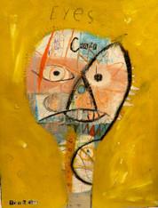 """Crazy Eyes - Mixed Media on Canvas Panel, 14 x 17 3/8"""""""