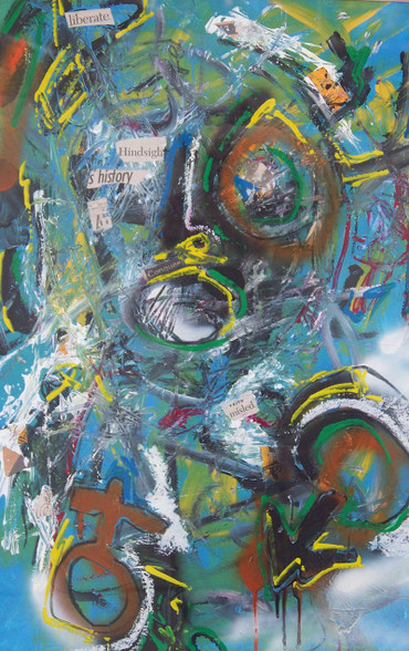 """Liberate - Mixed Media  on Canvas - Framed, 35 x 25 1/2"""""""
