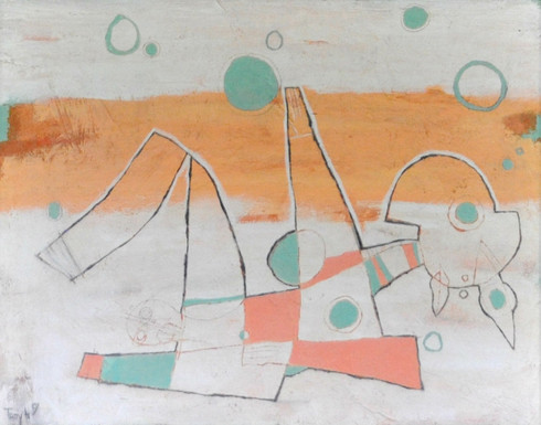 "Birth II - Mixed Media on Canvas - Framed, 26 1/2 x 32"""