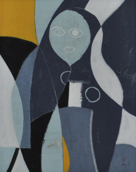 """Lady in Blue - Mixed Media on Canvas.  Unframed.  20 x 16"""""""