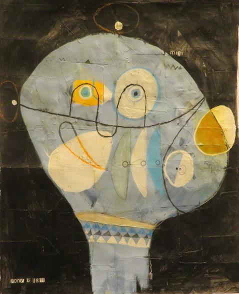 """Moon Child - Mixed Media on Canvas Panel, 17 3/4 x 21 5/8"""""""