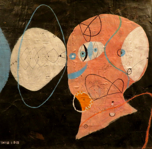 """Never Look Back - Mixed Media on Paper, 18 5/8 x 17 3/4"""""""