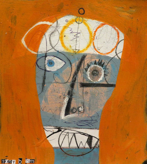 "Papa King - Mixed Media on Canvas Panel, 9 1/2 x 10 5/8"""
