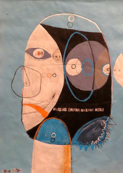 """Super Duper Pooper Head - Mixed Media on Unstretched Canvas, 16 x 21 3/4"""""""