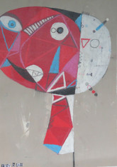 """Wow Girl - Mixed Media on Unstretched Canvas, 18 3/8 x 13"""""""