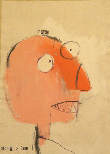 "Fake - Mixed Media on Canvas Panel, 10 1/2 x 14 1/2"""