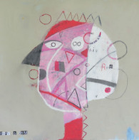 """Red Hair - Mixed Media on Unstretched Canvas, 14 x 14"""""""