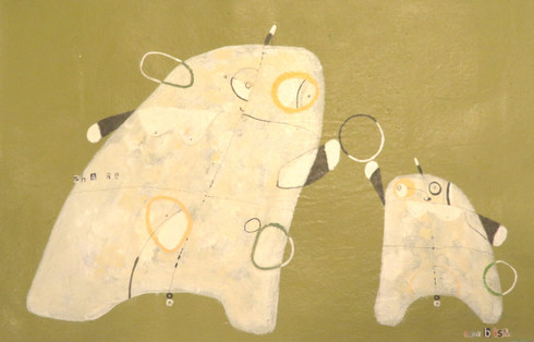 Share - Acrylic & Graphite Pencil on Canvas Panel, 13 3/8 x 21 1/8""