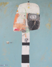 """5am - Mixed Media on Unstretched Canvas, 21 3/8 x 17 1/8"""""""