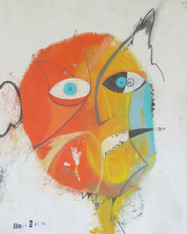 """Speaking Thru The Side Of His Mouth - Mixed Media on Unstretched Canvas, 15 x 19 1/2"""""""