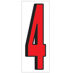 """18"""" Red and Black Number 4"""