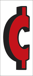 """Red and Black Cent Symbol - 4"""" x 9"""""""