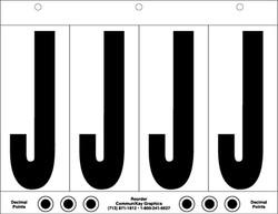 """6"""" Letter J - 4/sht"""
