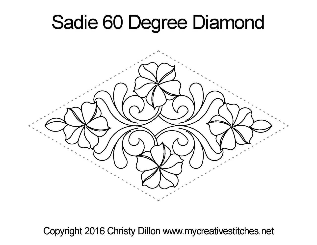 Computerized Quilting Pattern Sadie 60 Degree Diamond Block