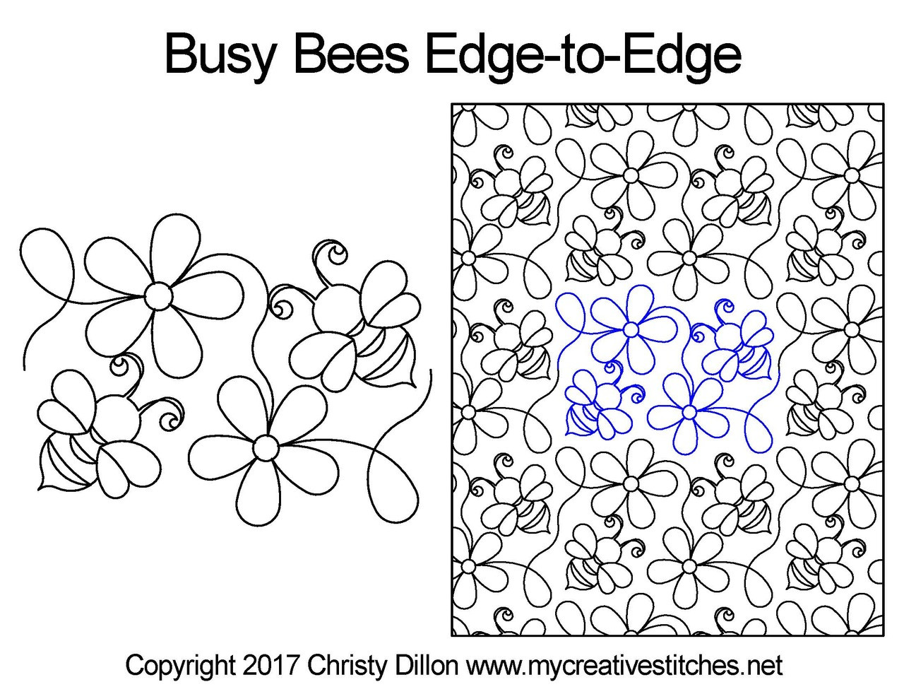 image relating to Free Printable Pantograph Quilting Patterns referred to as Fast paced Bees Advantage-in direction of-Gain