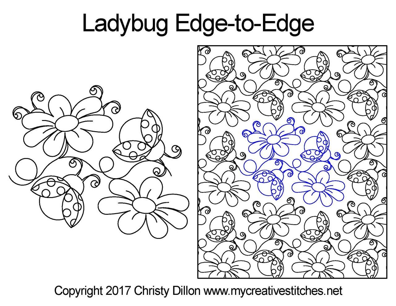 Computerized Quilting Patterns Ladybug Edge-to-Edge