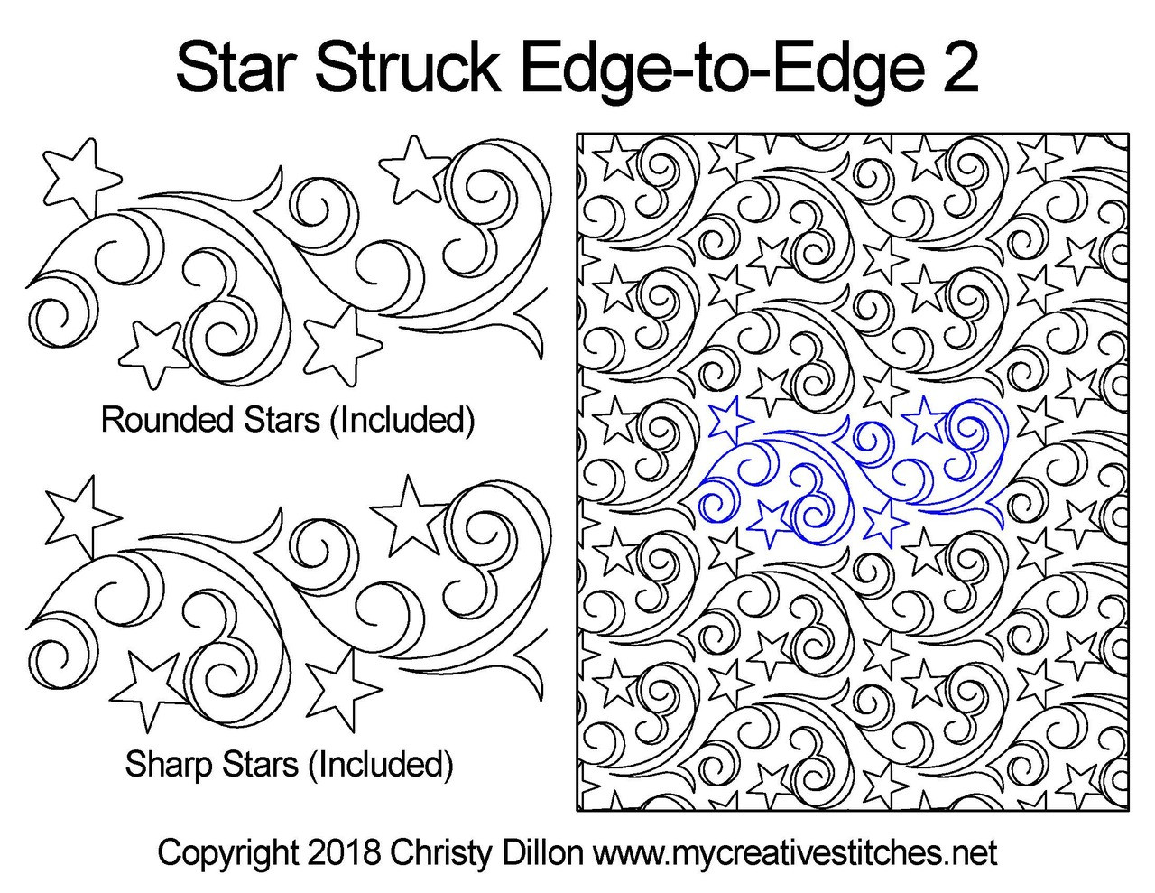 Computerized Quilting Pattern Star Struck Edge-to-Edge 2