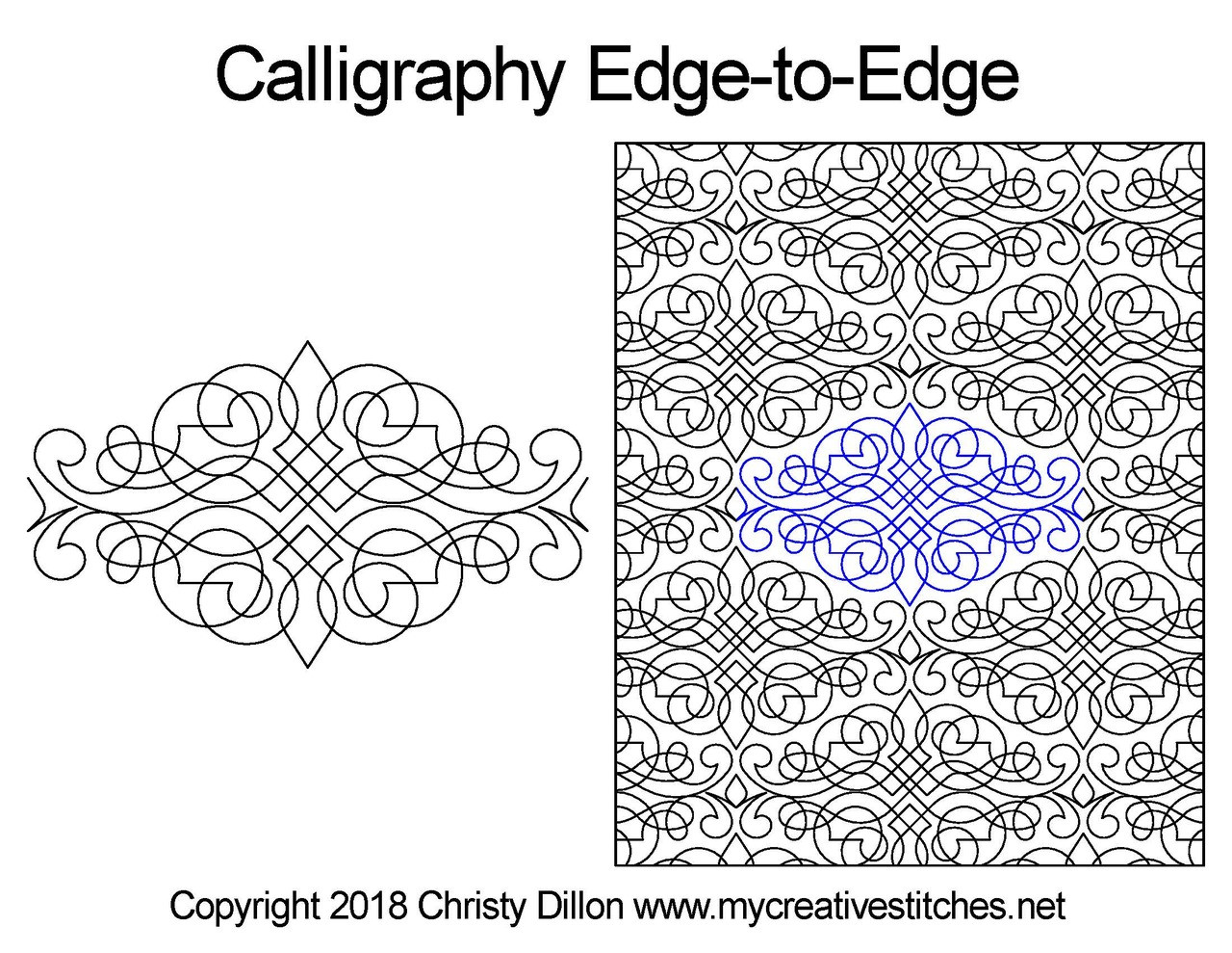 Computerized Quilting Pattern Calligraphy Edge-to-Edge
